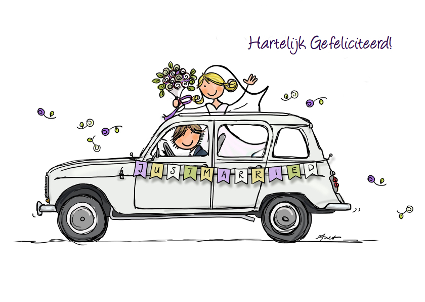 Felicitatiekaarten - Renault 4 Just Married kaart