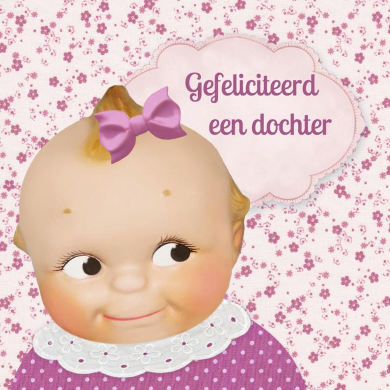 Felicitatiekaarten - retro baby dochter