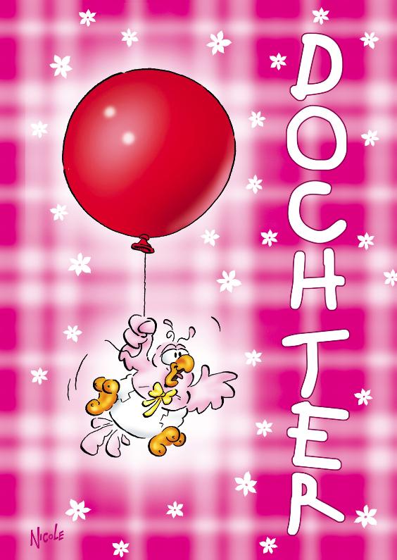Felicitatiekaarten - rocco geboorte dochter 2 baby ballon