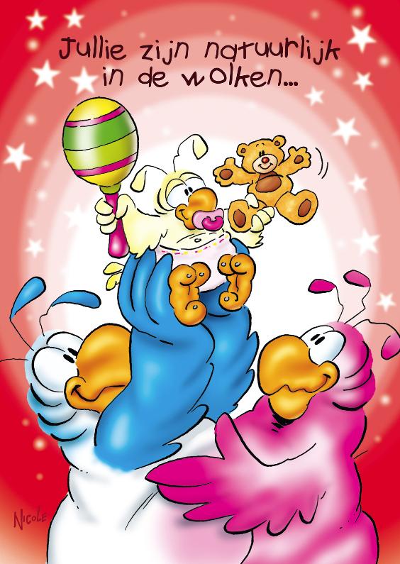 Felicitatiekaarten - rocco geboorte dochter 3 papegaaien baby