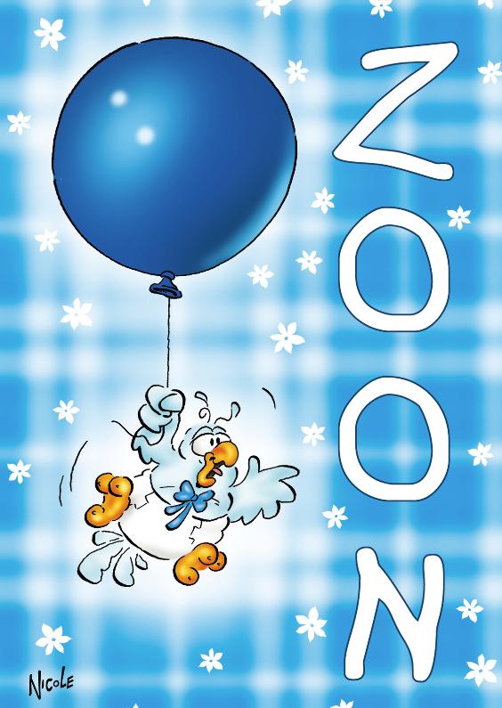 Felicitatiekaarten - rocco geboorte zoon 2 baby aan ballon