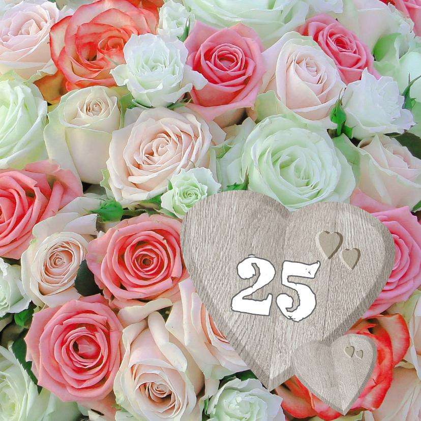 Felicitatiekaarten - Romantische rozen met hart
