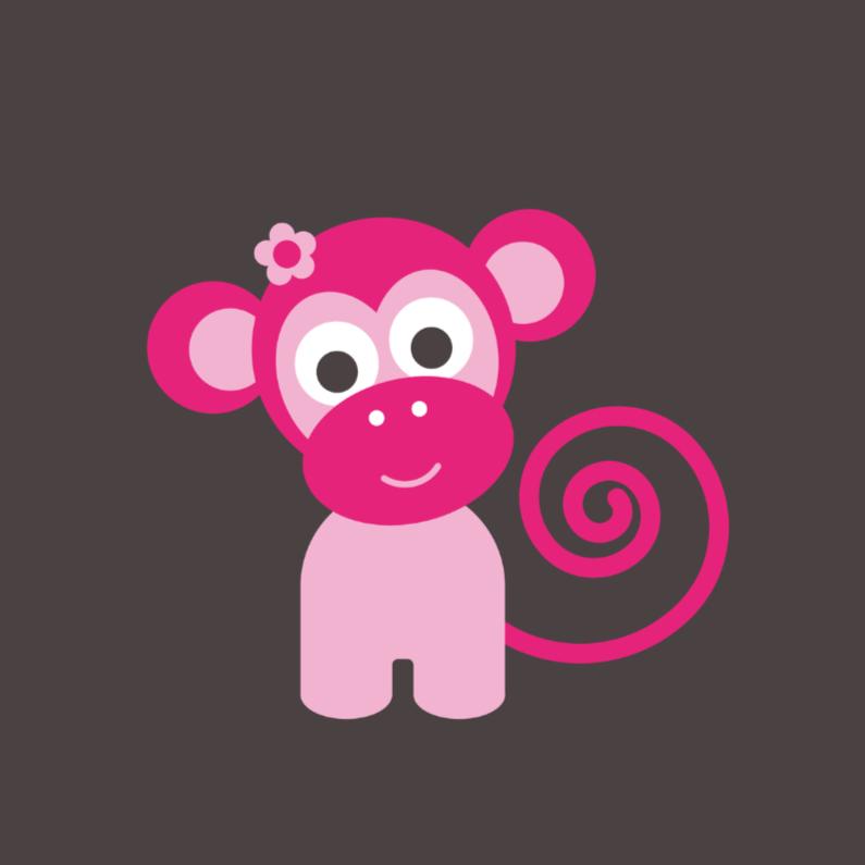 Felicitatiekaarten - Roze aapje