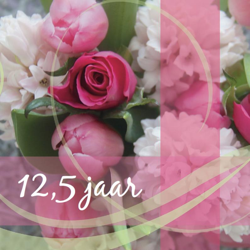 Felicitatiekaarten - Roze jubileumkaart bloemen