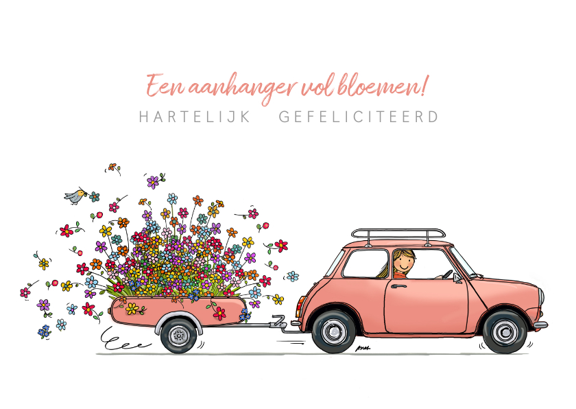 Felicitatiekaarten - Roze Mini cooper met bloemen