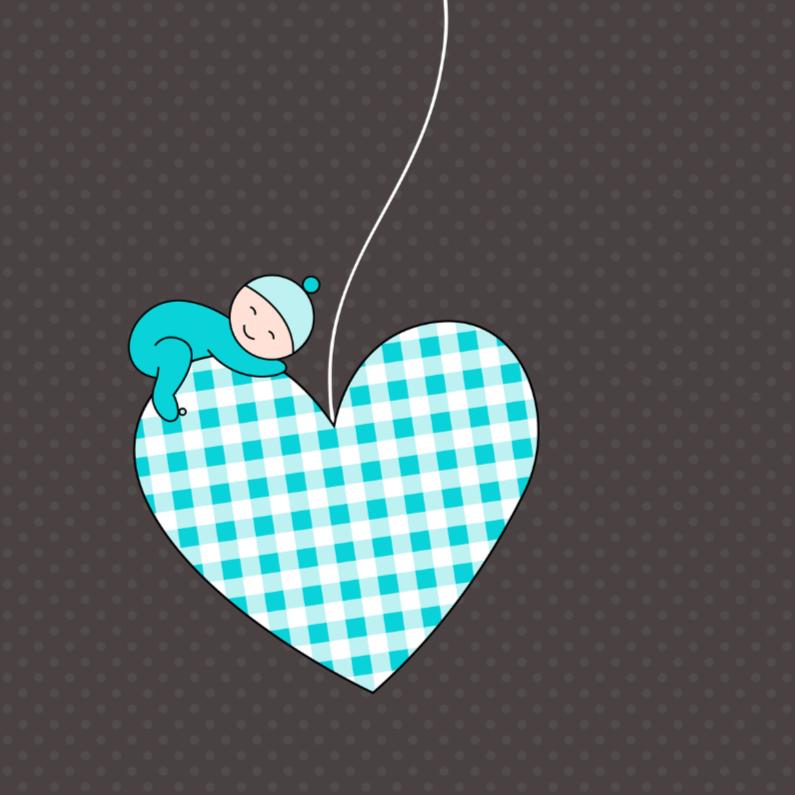 Felicitatiekaarten - Slapend jongetje op hartje