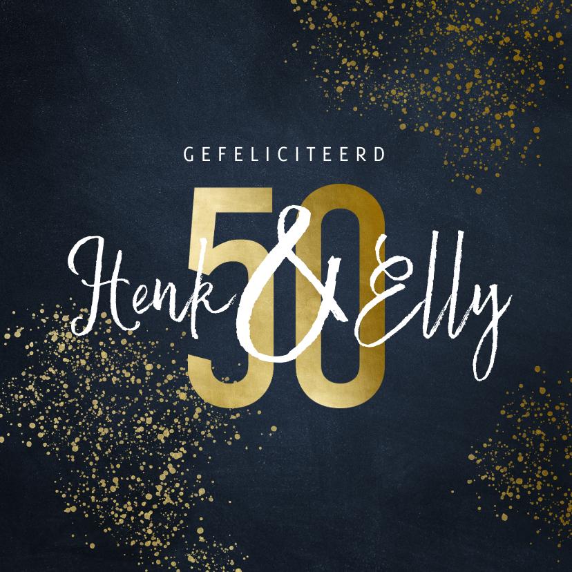 Felicitatiekaarten - Stijlvolle felicitatiekaart 50 jaar goudlook met spetters