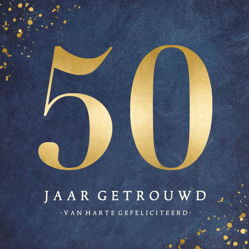 Felicitatiekaarten - Stijlvolle felicitatiekaart 50 jarig huwelijksjubileum goud