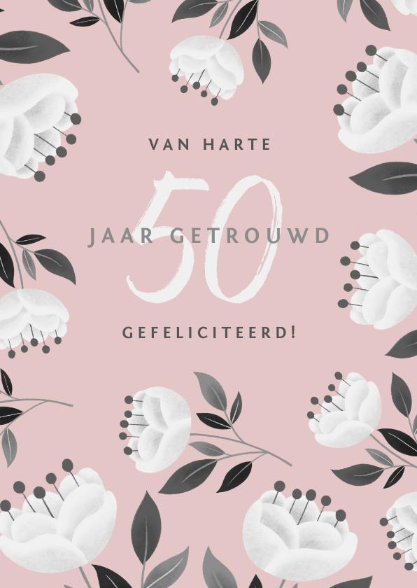 Felicitatiekaarten - Stijlvolle felicitatiekaart jubileum met bloemen en takjes