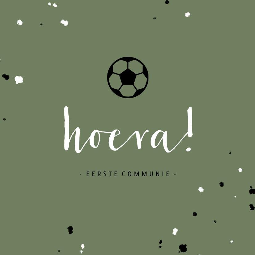 Felicitatiekaarten - Stoere felicitatie communie voetbal met spetters