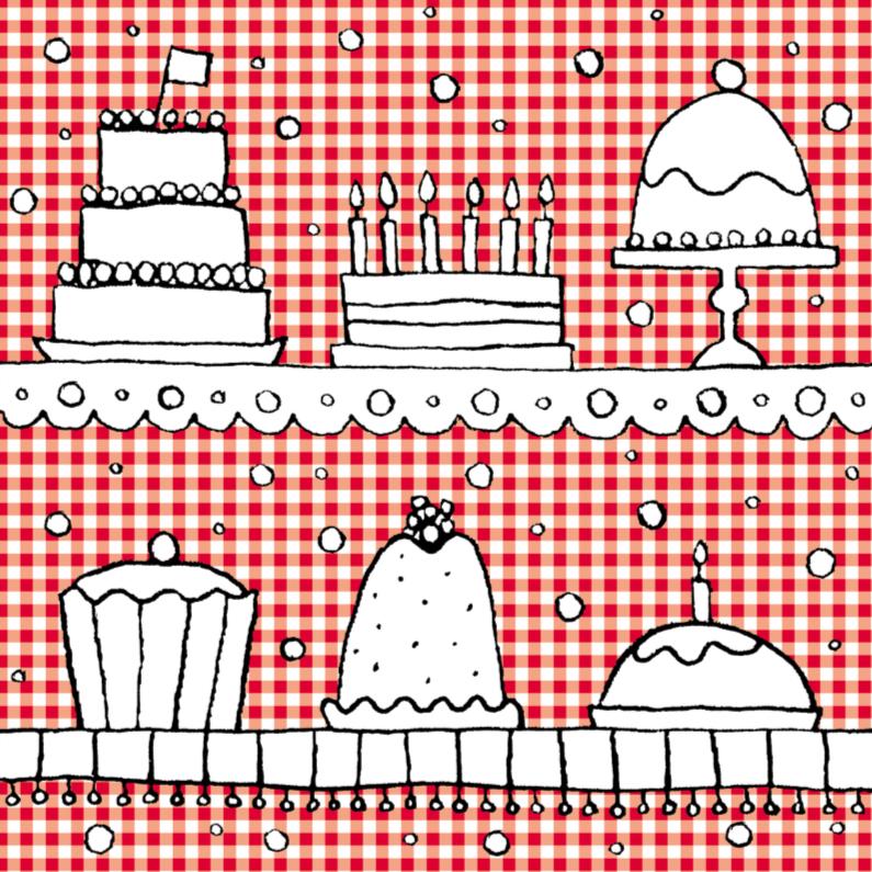 Felicitatiekaarten - Taarten op rood wit ruitje