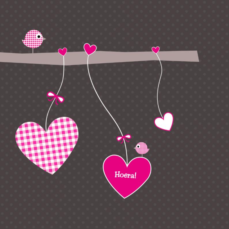 Felicitatiekaarten - Tak met hartjes roze