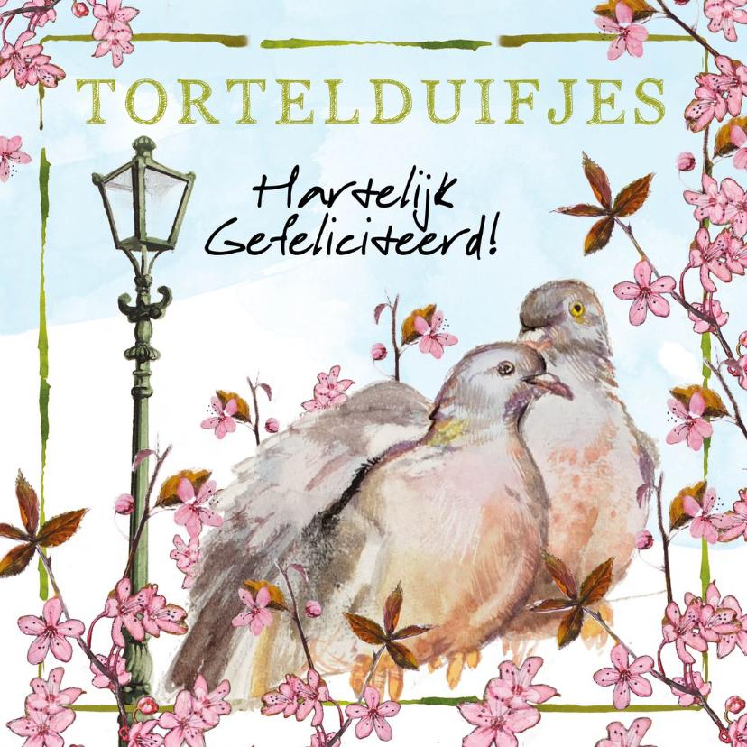 Felicitatiekaarten - Tortelduifjes, hartelijk gefeliciteerd!