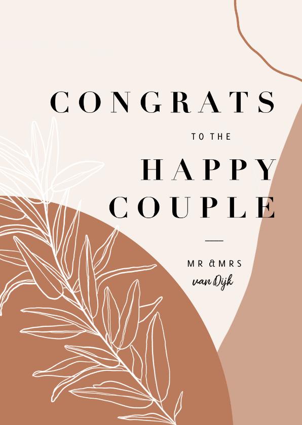 Felicitatiekaarten - Trendy abstracte felicitatiekaart huwelijk congrats en takje