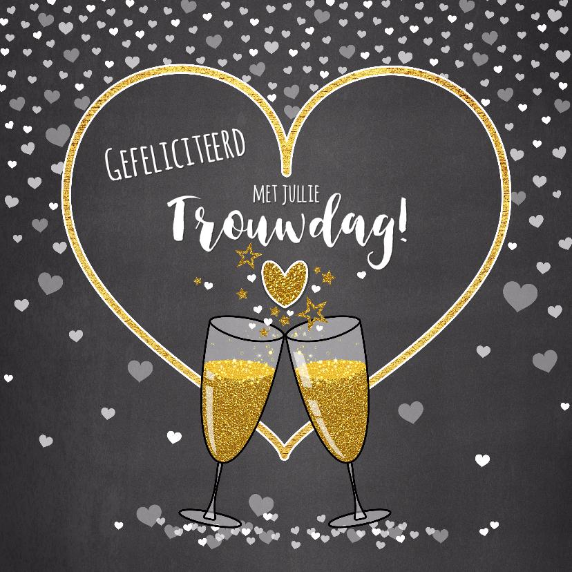Felicitatiekaarten - Trouwdag stijlvolle felicitatie champagne en hartjes