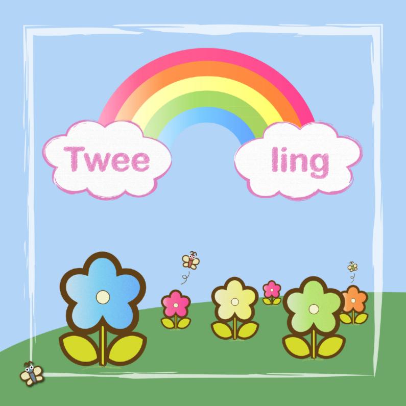 Felicitatiekaarten - tweeling 2 meisjes met regenboog-2