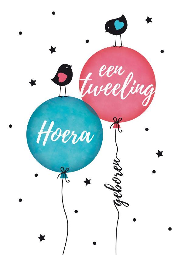 Felicitatiekaarten - Tweeling jongen en meisje vogeltjes op ballon
