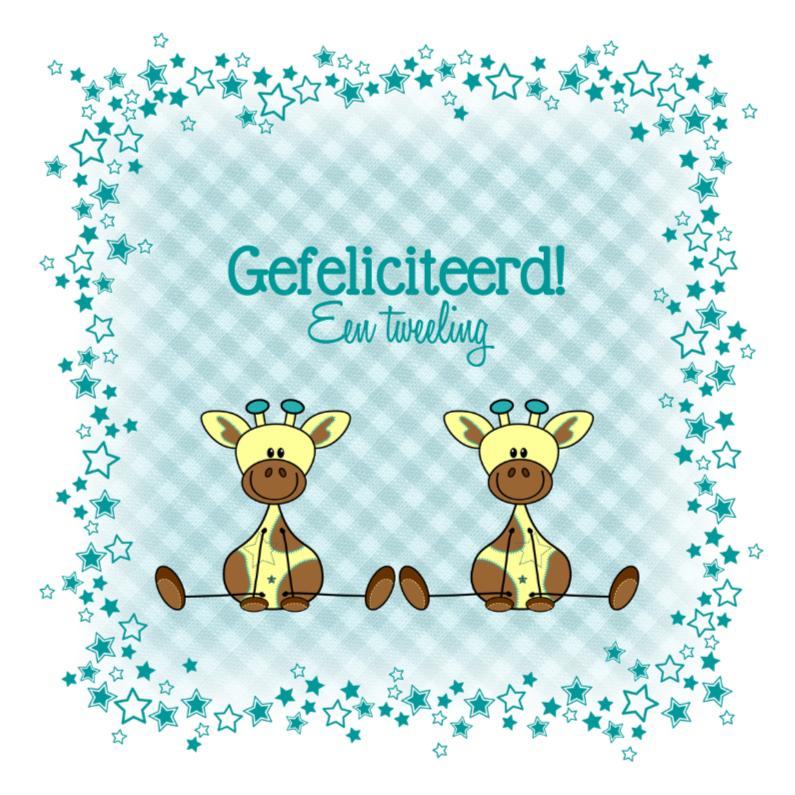 Felicitatiekaarten - Tweeling jongens lieve girafjes