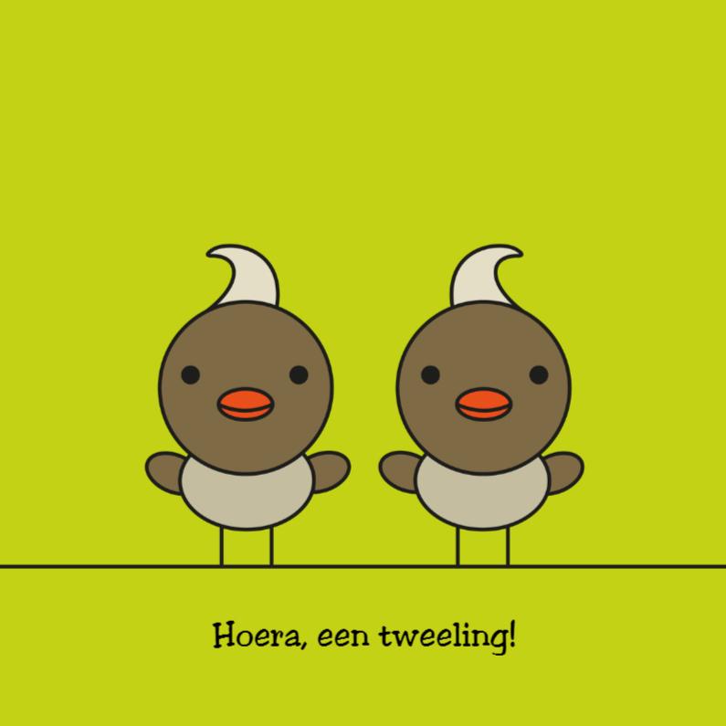 Felicitatiekaarten - Tweeling kuifmeesjes