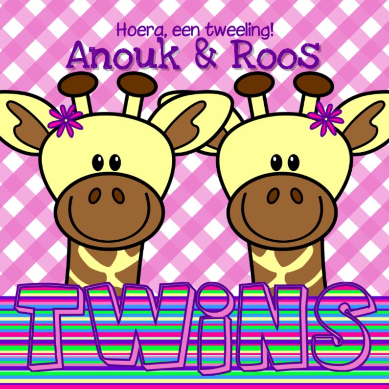 Felicitatiekaarten - Tweeling meisjes giraffes