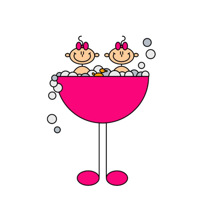 Felicitatiekaarten - Tweeling meisjes in badje