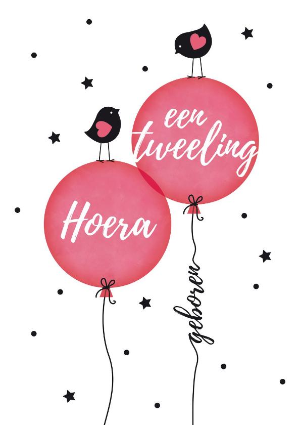 Felicitatiekaarten - Tweeling meisjes vogeltjes op ballon