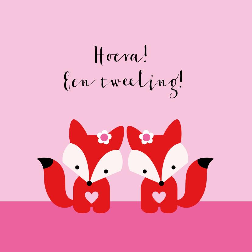 Felicitatiekaarten - Tweeling vosjes, meisjes