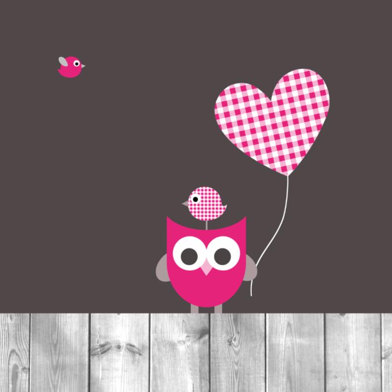 Felicitatiekaarten - Uil, ballon en vogeltjes