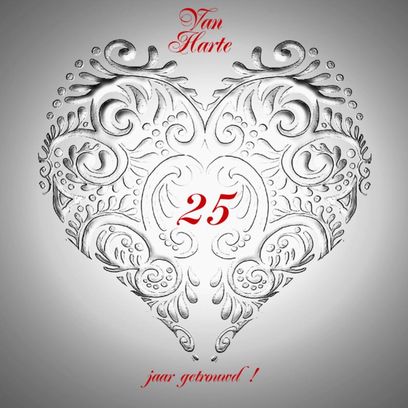 Felicitatiekaarten - Van Harte jubileum zilver met hart
