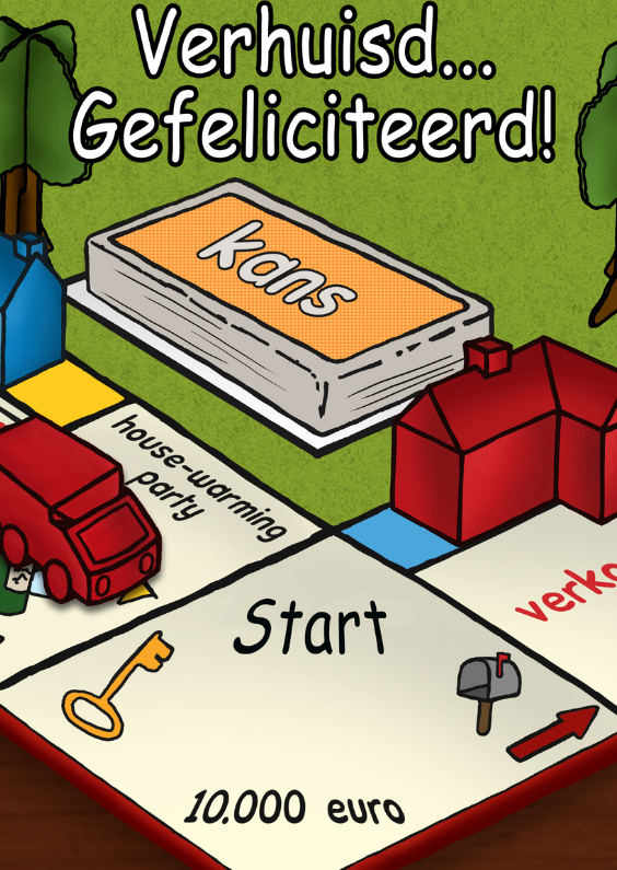 Felicitatiekaarten - Verhuisd Gefeliciteerd monopoly TT