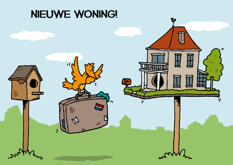 Felicitatiekaarten - Verhuisd Vogelvilla