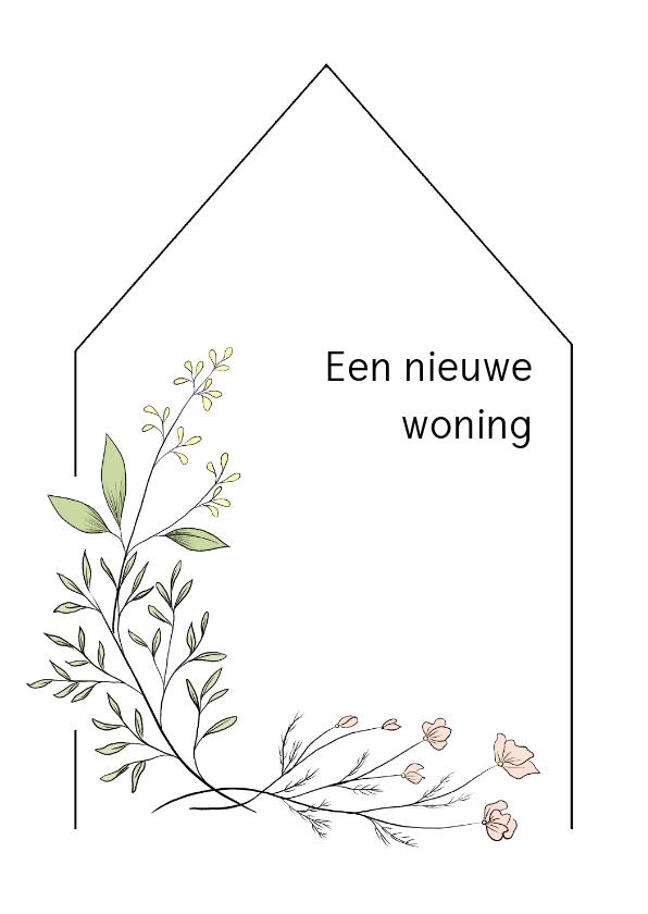 Felicitatiekaarten - Verhuiskaart flower, aanpasbare tekst