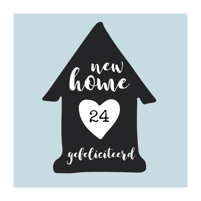 Felicitatiekaarten - Verhuiskaart huisje zwart-wit