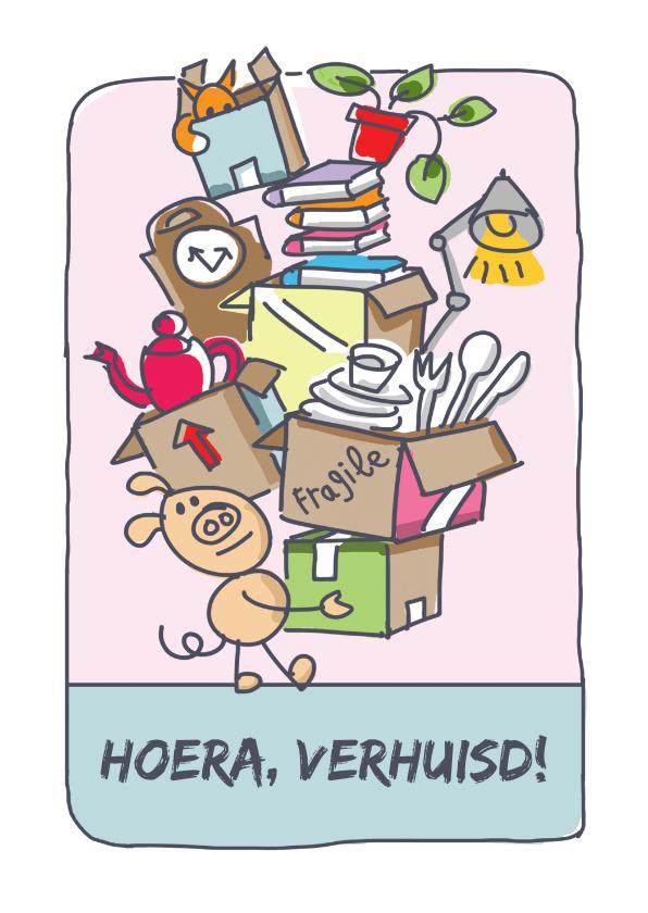 Felicitatiekaarten - Verhuiskaart met varken en stapel verhuisdozen
