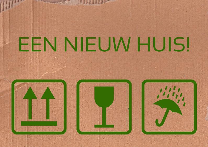 Felicitatiekaarten - Verhuissymbolen felicitatie woning groen