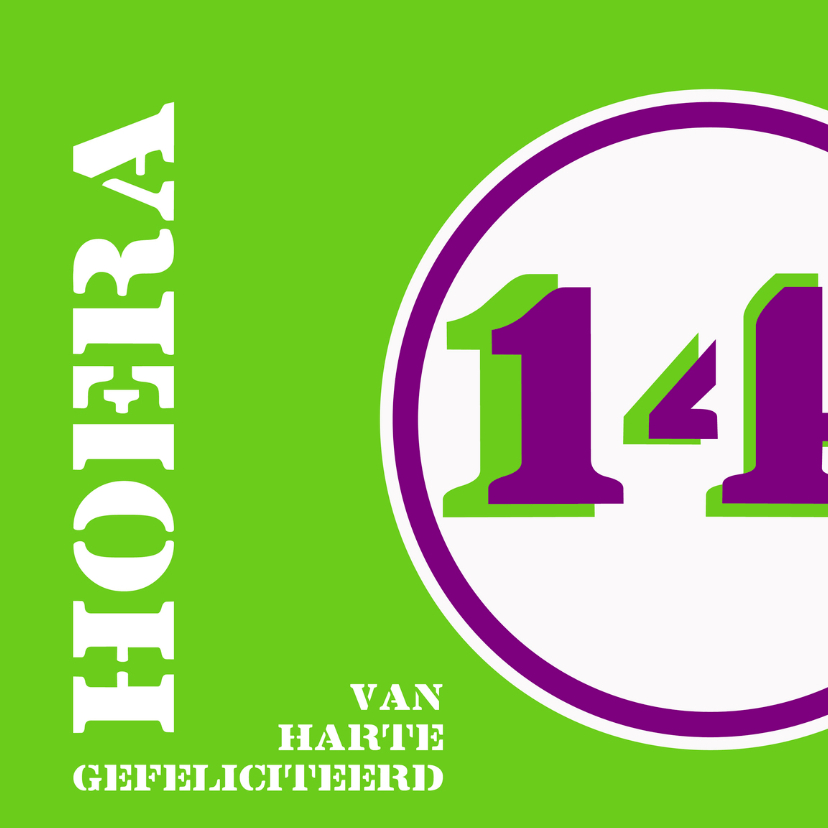 Felicitatiekaarten - Verjaardag 14 jaar felicitatiekaart