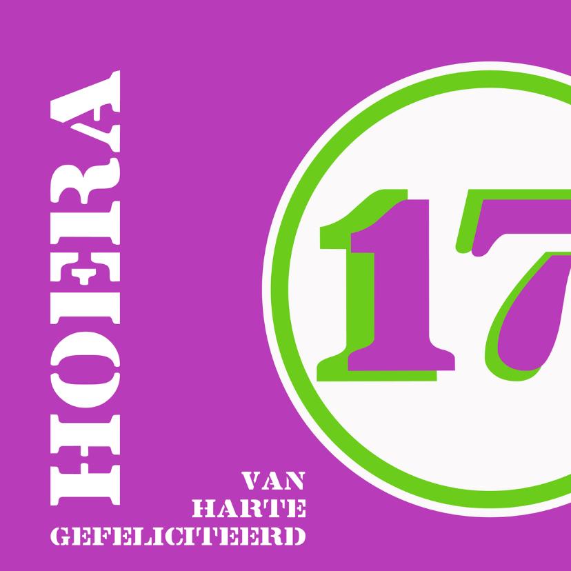 Felicitatiekaarten - Verjaardag 17 jaar felicitatiekaart