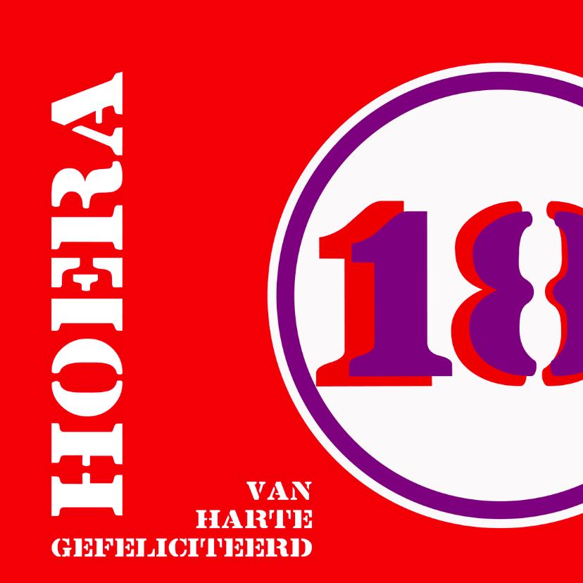 Felicitatiekaarten - Verjaardag 18 jaar felicitatiekaart
