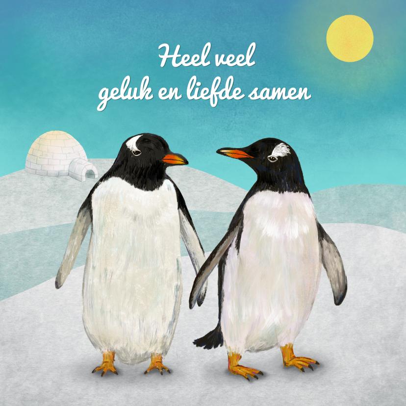 Felicitatiekaarten - Verliefd Pinguin koppel met iglo