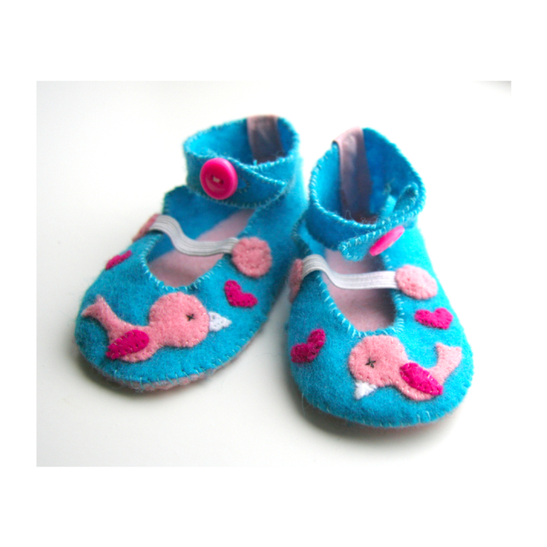 Felicitatiekaarten - Vilten schoentjes felicitatie geboorte
