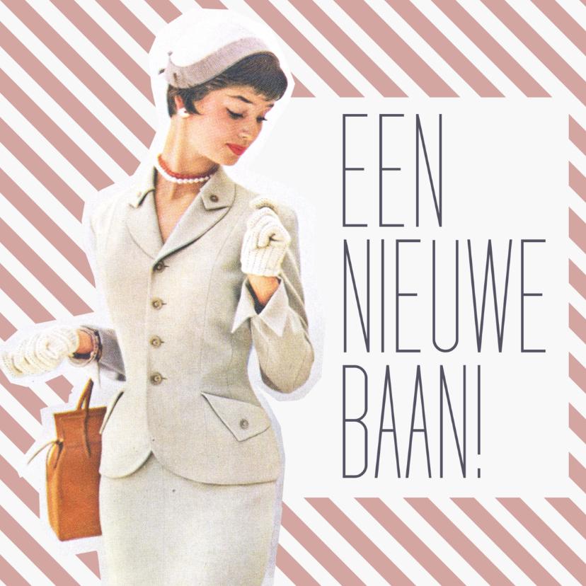 Felicitatiekaarten - Vintage nieuwe baan vrouw