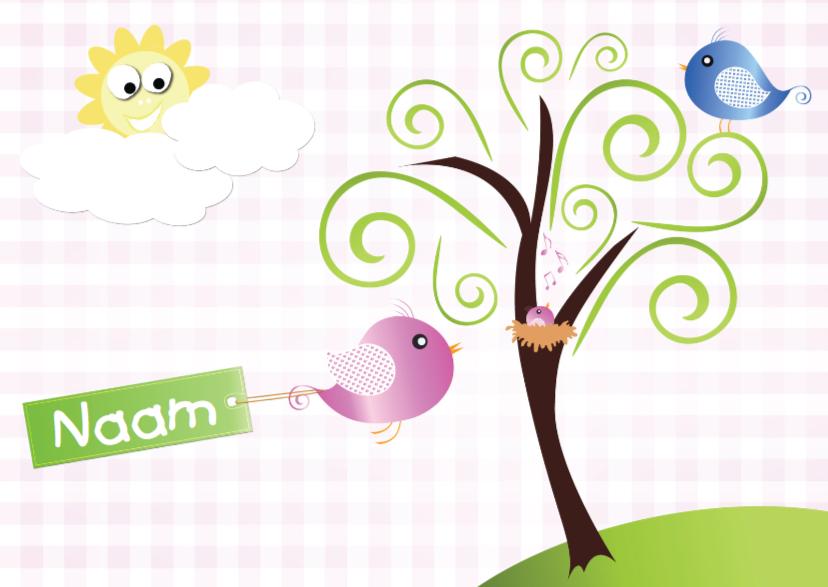 Felicitatiekaarten - vogeltjes met nestje zon en naam meisje