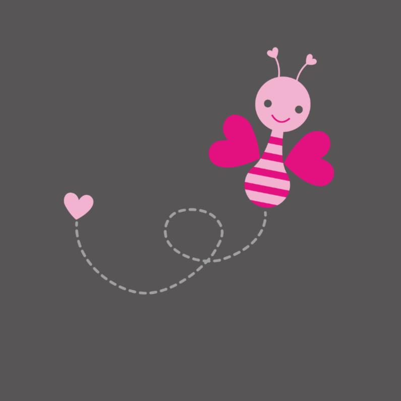 Felicitatiekaarten - Vrolijk roze vlindertje