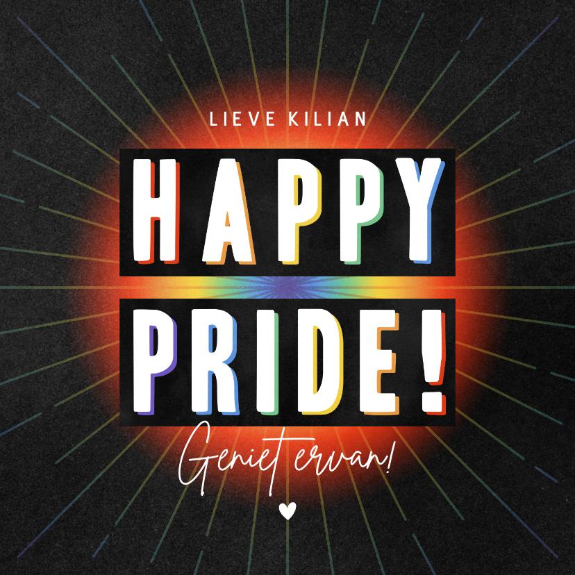 Felicitatiekaarten - Vrolijke felicitatiekaart Gay Pride met regenboogkleuren