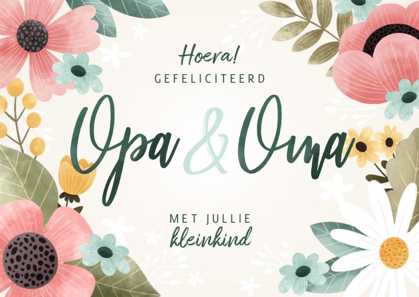 Felicitatiekaarten - Vrolijke felicitatiekaart kleinkind opa & oma met bloemen