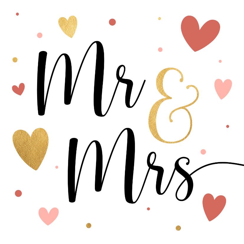 Felicitatiekaarten - Vrolijke huwelijkskaart met hartjes