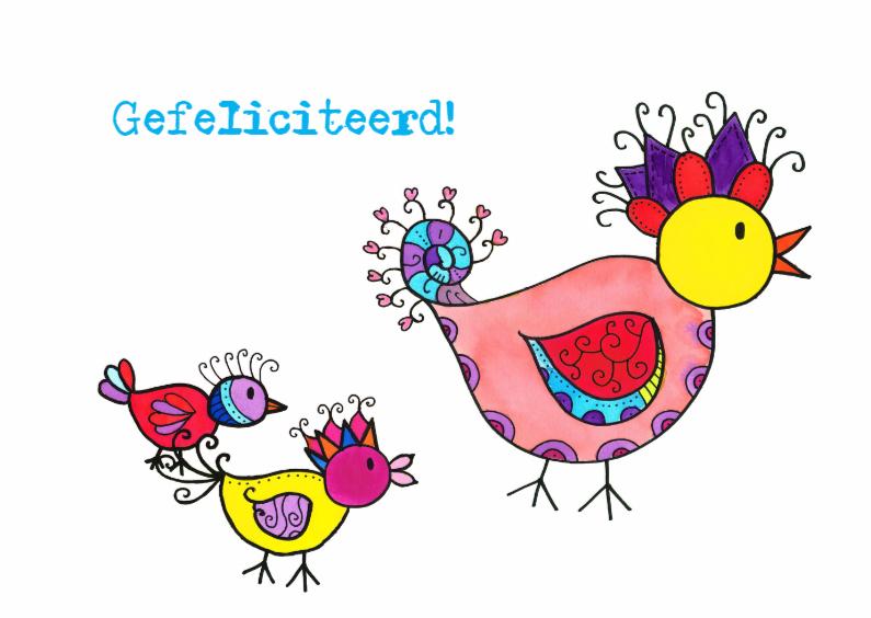 Felicitatiekaarten - Vrolijke vogels gefeliciteerd