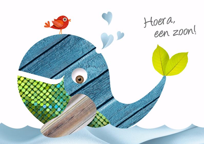 Felicitatiekaarten - Walvis met vogel