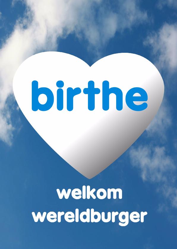 Felicitatiekaarten - Welkom wereldburger wolken - AW
