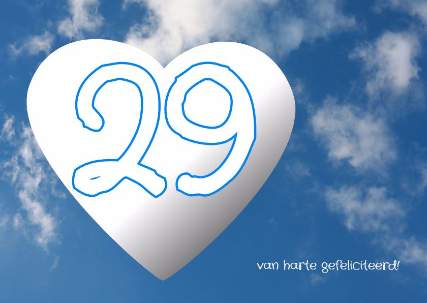 Felicitatiekaarten - Wolken hart cijfer - AW